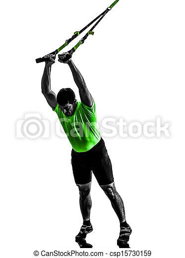 man exercising suspension training  trx silhouette - csp15730159