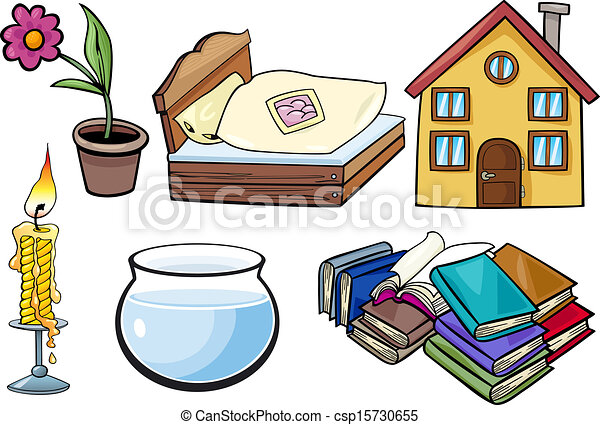 Clipart Vector Of Household Objects Cartoon Illustration
