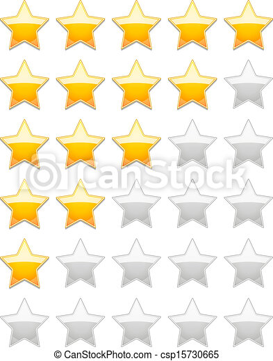 Clip Art Vector of Rating Stars - Vector Rating 5 Stars isolated ...