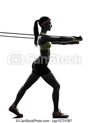woman exercising fitness workout resistance bands silhouette - csp15731097