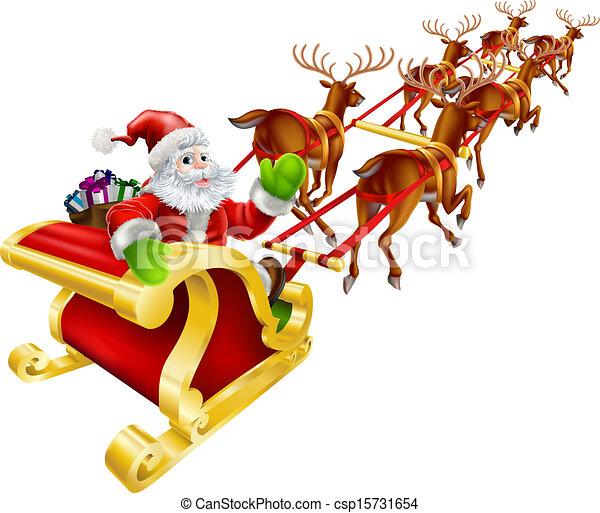Christmas Santa Claus flying in sleigh  - csp15731654
