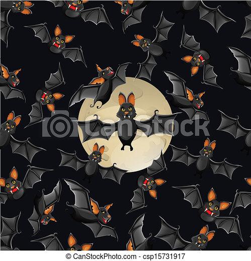 Halloween seamless pattern with cute cartoon bats - csp15731917