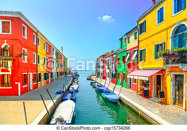 Venice landmark, Burano island canal, colorful houses and boats, Italy. Long exposure photography - csp15734266