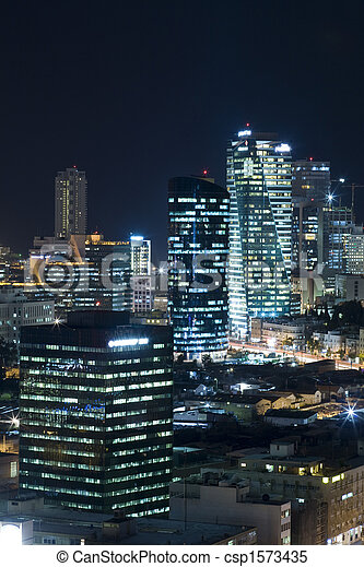 The Tel aviv skyline - Night city  - csp1573435