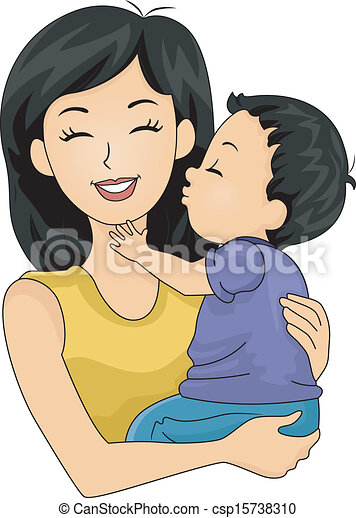 Mom and Son Kiss - csp15738310
