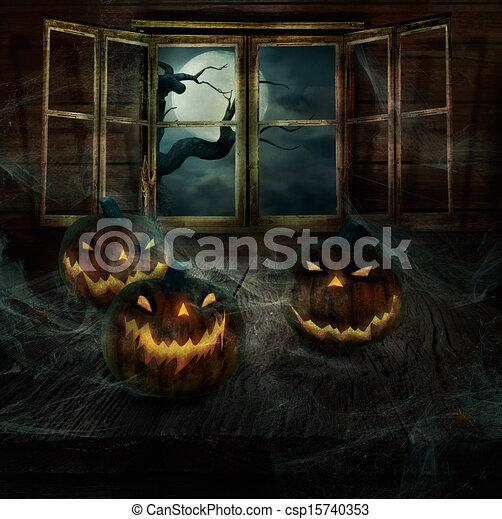 Halloween Design - Abandoned pumpkins - csp15740353