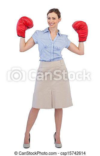 Buisnesswoman posing with boxing gloves - csp15742614