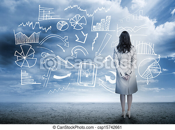 stehende, Geschäftsfrau, schauen, Daten, Flußdiagramm - csp15742661