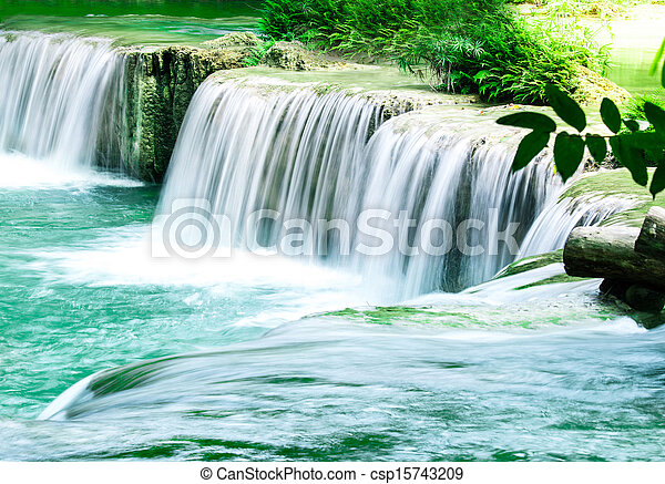 Deep forest Waterfall in Thailand - csp15743209