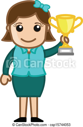 Clipart Vector of Girl Presenting Golden Trophy  Girl Won a Trophy Cup csp15744053