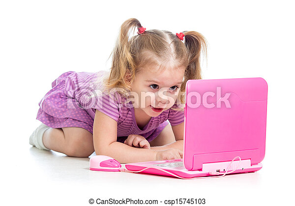 funny child playing with laptop toy - csp15745103