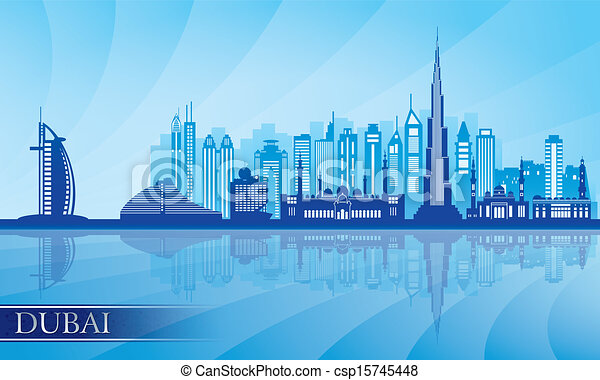 Dubai city skyline detailed silhouette - csp15745448