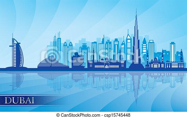 Dubai city skyline detailed silhouette - csp15745448