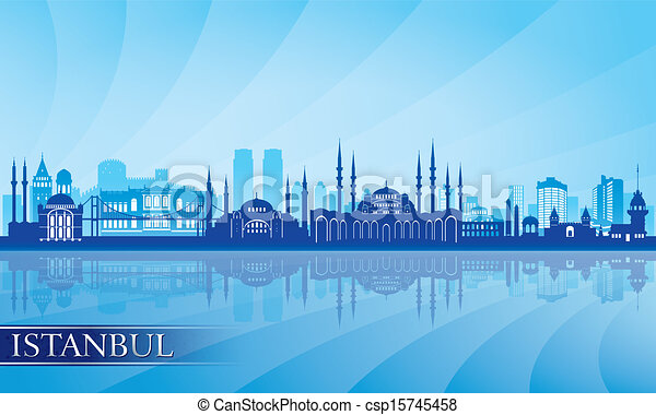 Istanbul city skyline detailed silhouette - csp15745458