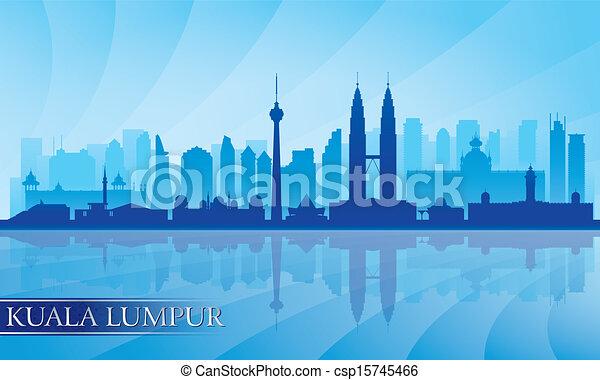 Kuala Lumpur city skyline detailed silhouette - csp15745466