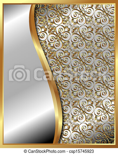 Gold frame with pattern 4 - csp15745923