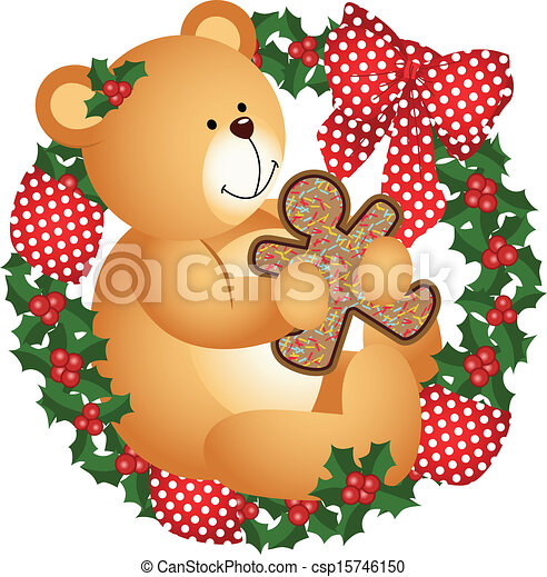 Christmas teddy bear with cookie  - csp15746150