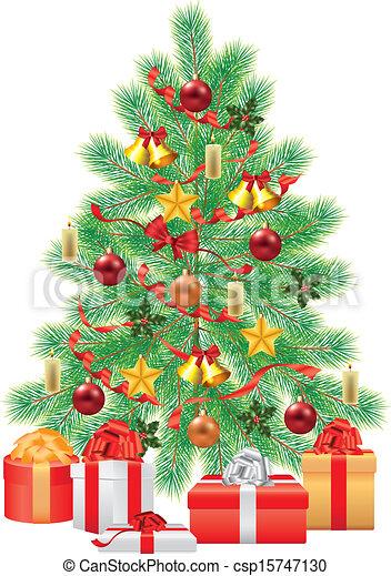 Vecteurs de vert sapin d corations no l arbre vert sapin csp15747130 recherchez - Dessin sapin vert ...