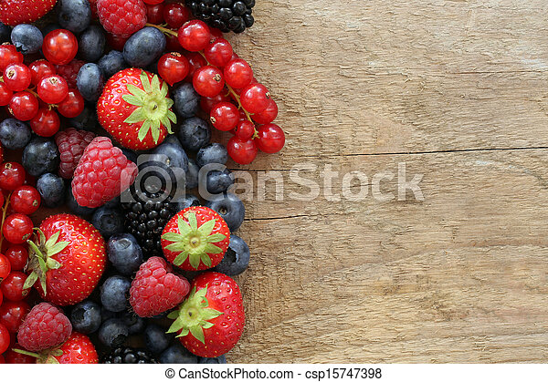 Berry fruits on a wooden board - csp15747398