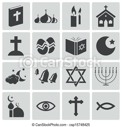 Vector black  religion icons set - csp15748425