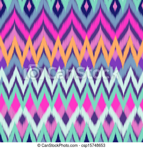 Clipart Vector of cool color ikat zigzag - seamless vector csp15748653 ...