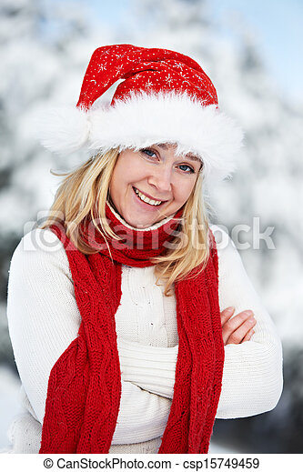 happy young adult woman at winter - csp15749459