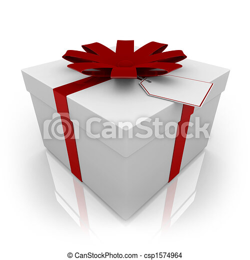 White Present with Red Bow and Tag - csp1574964