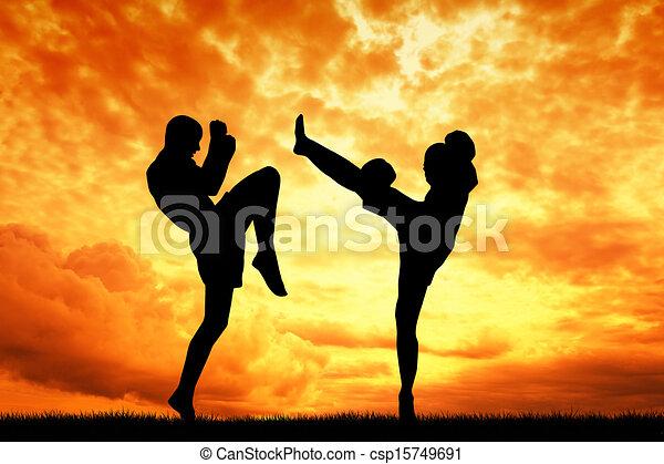 Muay Thai Silhouette Vector Muay Thai Silhouette