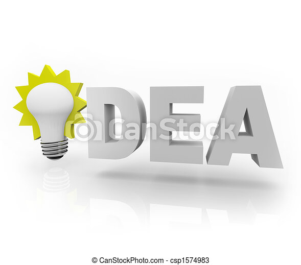Idea Word with Light Bulb - csp1574983