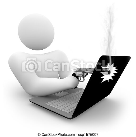 Shooting a Laptop Computer - csp1575007