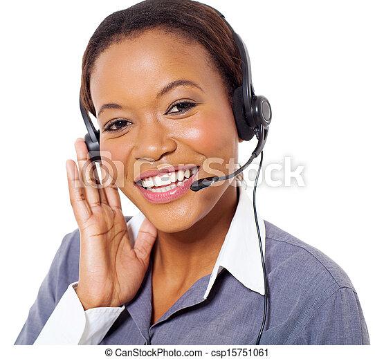 zentrieren, junger, amerikanische , rufen, afrikanisch, bediener - csp15751061