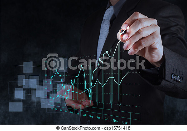 businessman hand drawing virtual chart business - csp15751418