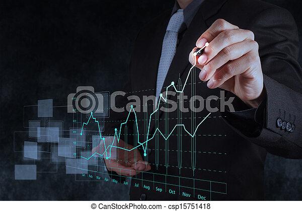 businessman hand drawing virtual chart business - csp15751418