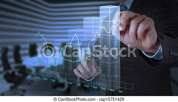 businessman hand working with new modern computer and business strategy as concept - csp15751429