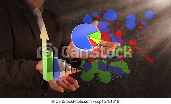 businessman hand with the art of business - csp15751618