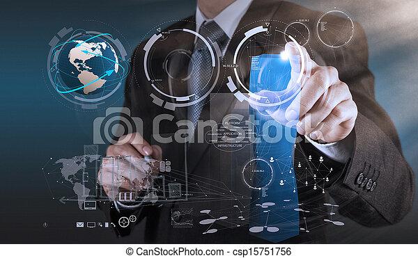 businessman hand drawing a pie chart - csp15751756