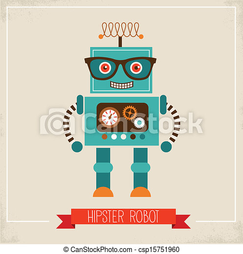 Hipster robot toy icon - csp15751960