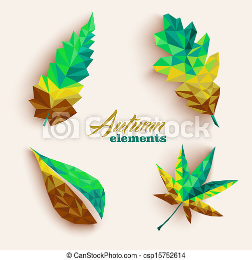 Fall season triangle leaves composition icon set. EPS10 file. - csp15752614