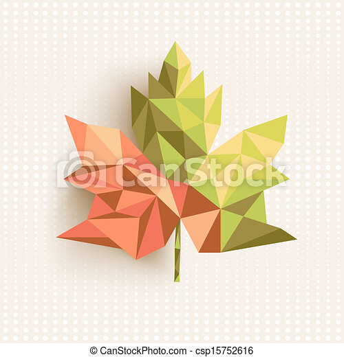 Trendy 3d geometric fall leaf composition illustration. EPS10 vector file organized in layers for easy editing. - csp15752616