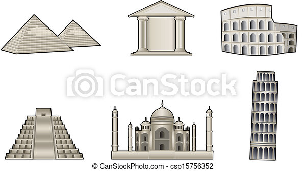 World famous landmark and monuments - csp15756352