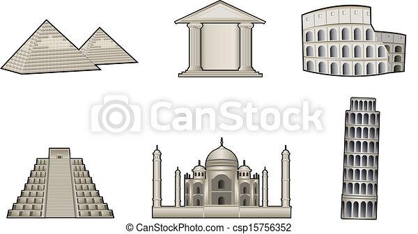 World famous landmark and monuments - csp15756352