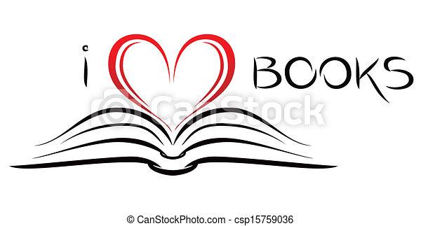 Open Book Line Drawing Vectors of I lo...