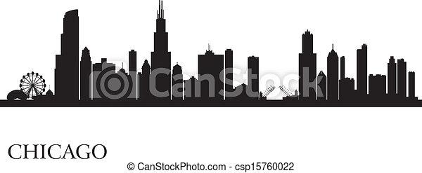 Chicago city skyline silhouette background - csp15760022