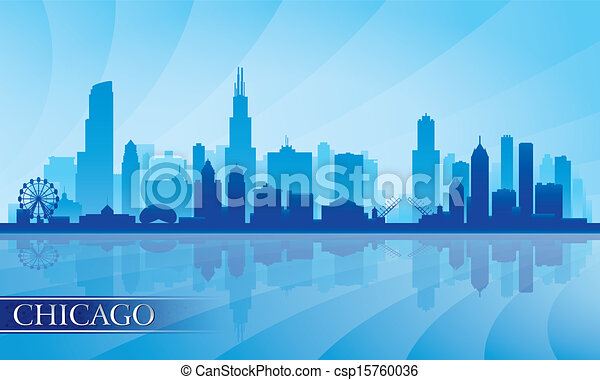 Chicago city skyline detailed silhouette - csp15760036