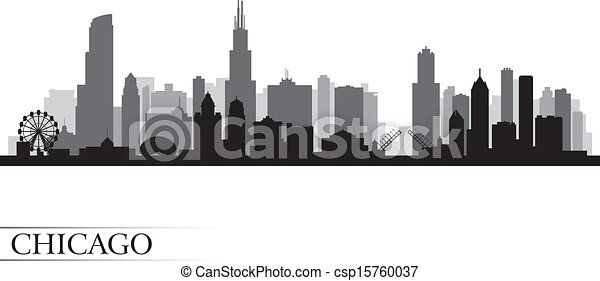 Chicago city skyline detailed silhouette - csp15760037
