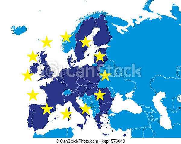 European Union on Europe map - csp1576040