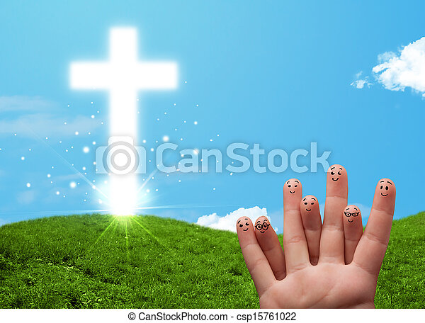 Happy finger smileys with christian religion cross - csp15761022