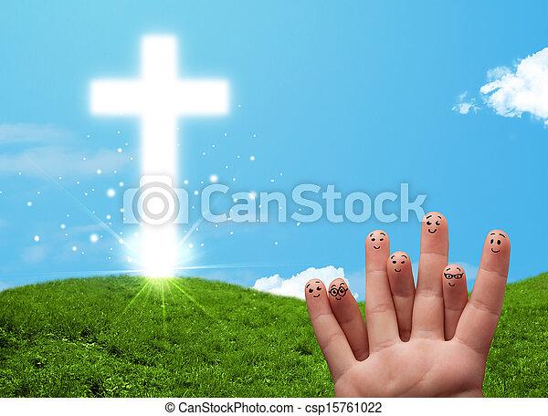 Happy finger smileys with christian religion cross - csp15761022