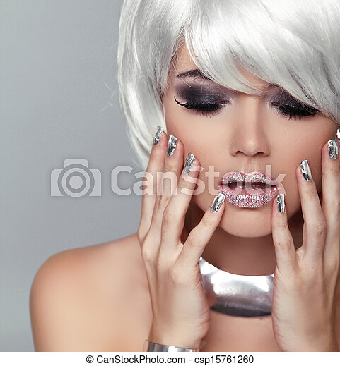 Fashion Blond Girl. Beauty Portrait Woman. White Short Hair. Isolated on Grey Background. Face Close-up. Manicured nails. Hairstyle. Fringe. Vogue Style. - csp15761260