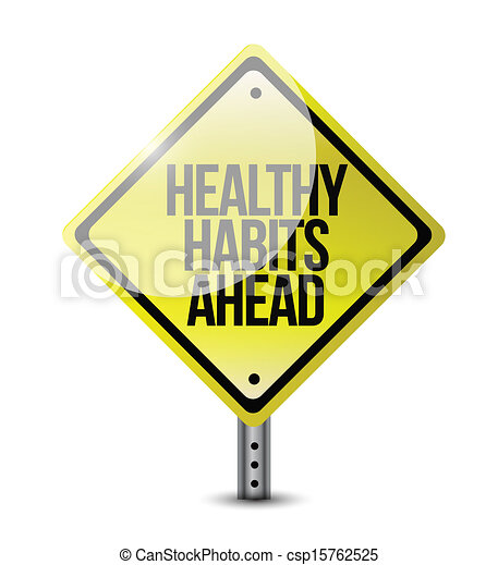 healthy habits road sign illustration design - csp15762525